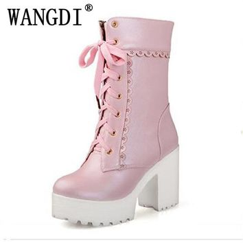 Lolita pink black white lace up tied high heel student shoes sweet lady cosplay platform chunky block mid calf short boots