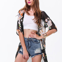 Black Short Sleeve Floral Loose Chiffon Blouse - Sheinside.com