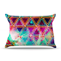 "Caleb Troy ""Neon Triangle Galaxy"" Map Pillow Case"