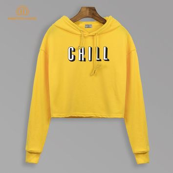 Chill Printed Yellow Cropped Hoodies Autumn 2018 New Style Brand Harajuku Hooded Women Fashion Sweatshirts Casual Slim Fit Hoody