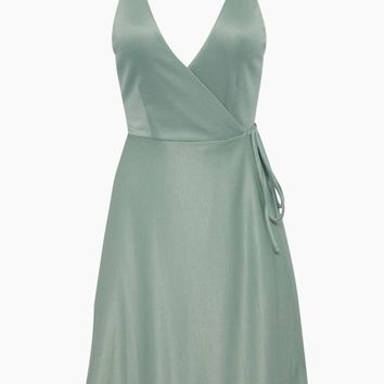 Kelso Wrap Mini Dress - Granite Green