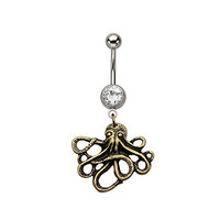 Antique Bronzed Octopus Belly Button Ring 316L Surgical Steel 14g Dangle Navel Ring