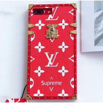 LV Louis Vuitton & Supreme co-branded classic street fashion iphone6Plus mobile phone case F/A Red