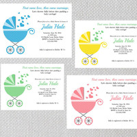 Printable Baby Shower Invitation, Baby Boy, Baby Girl, Gender Reveal, Baby Carriage