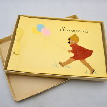 Vintage Scrapbook Album, Yellow Baby Book, Photo or Snapshot Album, Unused, Little Girl with Balloons, circa 1940s-1950s