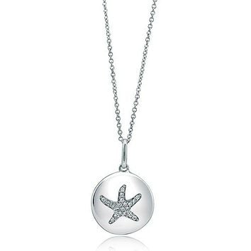 Sterling Silver Necklace Cubic Zirconia CZ Starfish Medallion Pendant #n802