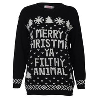 My1stWish Womens 7K Xmas Ladies Novelty Retro Christmas Winter Sweater Jumper Size 4/6 Filthy Animal Black