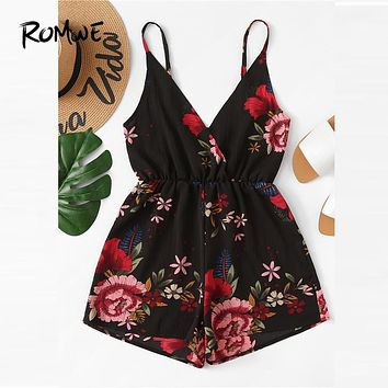 ROMWE V Neckline Floral Wrap Cami Romper 2019 Chic Summer High Waist Womens Culottes Sleeveless Straight Leg Sexy Romper