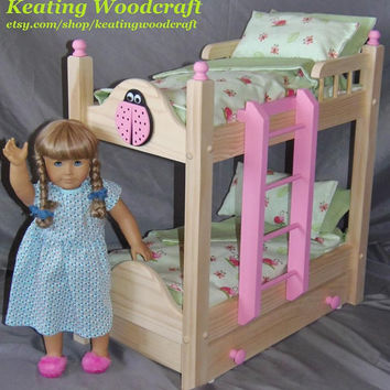 Doll bunk bed with trundle bed perfect for the American Girl Doll and all 18 inch dolls with natural finish and 11 piece bedding set