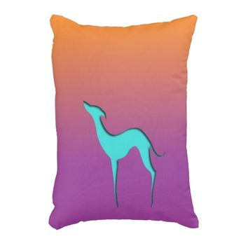 Greyhound/Whippet blue orange violet Accent pillow