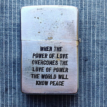 Vintage Genuine Vietnam War Era Engraved Zippo Lighter Middle Finger Walking Away From Peace Sign