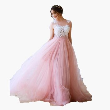 Romantic Floor Length Tulle Skirts For Bridal Custom Made Long Tutu Skirt Lady To Formal Party Zipper Style Pleat Maxi Skirt