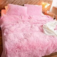 Full Size Solid Pink Princess Style Luxury 4-Piece Fluffy Bedding Sets/Duvet Cover