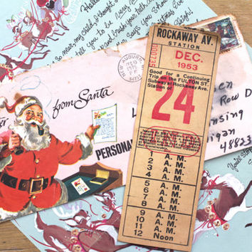 Vintage Christmas Ticket New York Subway NY Rockaway Station Santa Transportation 1950s Mid Century Scrapbooking Junk Journal Paper