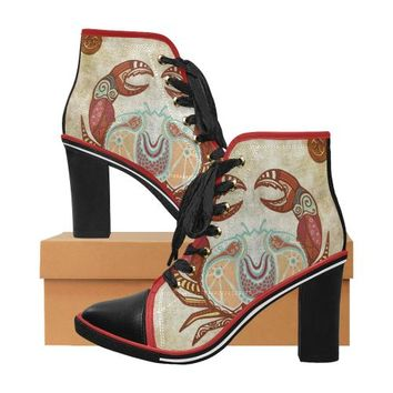 Cancer - Women's Zodiac Print Lace Up Canvas Ankle Boots