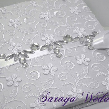 Lace Wedding Guest Book and Pen Set, Personalized Guest Book, White, Rhinestone Wedding Guestbook, Wedding Sign In Book, Winter Wedding