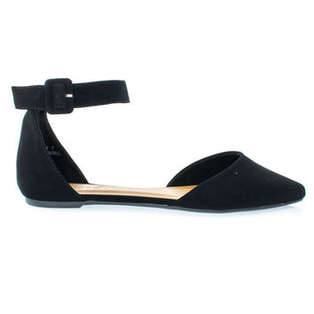 Sequel87M Black By Bamboo, Women's Pointed Toe Flat w Double Open Shank d'Orsay Cut & Ankle Strap