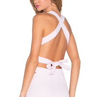 RISE Pretty Baby Backless Bow Crop Top in Pink