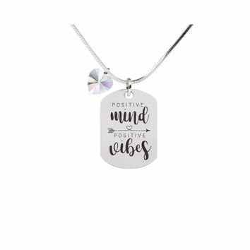 Inspirational Tag Necklace In AB Made With Crystals From Swarovski  - POSITIVE MINDS