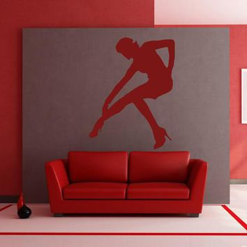 ik2314 Wall Decal Sticker silhouette girl pose living room shop stained glass window
