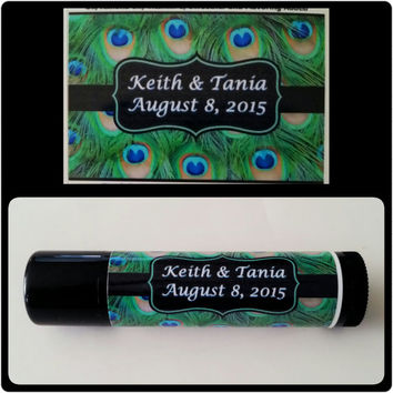 Personalized Party Favors / 15 Custom Lip Balm Chapstick Favors / Peacock Theme / Bridal Shower / Bachelorette Favors / Birthday