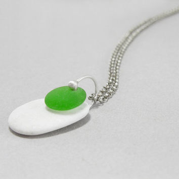 Beach glass jewelry stone sea glass pendant, Natural mediterranean pebble, modern minimalist necklace, eco friendly, one of a kind