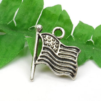 8 Silver USA Flag Charms, July 4th, Patriotic, Military 18mm x 14mm C64