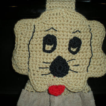 Crochet Hanging Towel Topper - Puppy Dog - Tan
