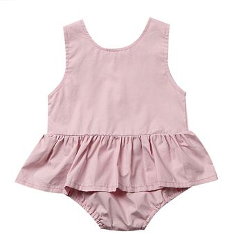 2017 New Princess Girls Romper Summer Sleeveless Back Button Tutu Skirted Jumpsuit One Pieces Newborn Baby Clothes Sunsuit Pink