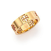 Tory Burch - Pierced T Logo Band Ring - Saks Fifth Avenue Mobile