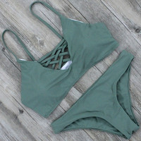 3 Colors Bandage Bikini Set Brazilian Summer Beach Wear Solid Color Swimsuit
