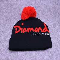 Diamond Supply Co Black & Red Pom Beanie