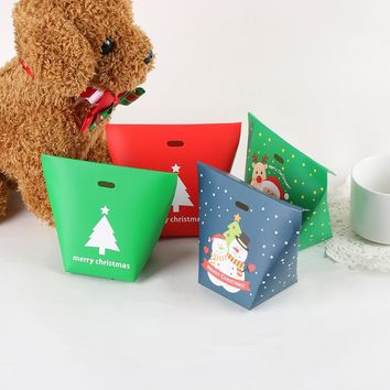 5pcs/pack Christmas Paper Boxes Santa Claus Candy Boxes Xmas Party Favor Wrap Bags Kids Gifts Packing Cases Paper Gift Bag