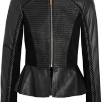 ALICE by Temperley|Giovanni suede-paneled leather peplum jacket |NET-A-PORTER.COM