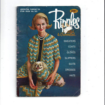 Early 1960s Ripples Crocheted & Knitted, Star No. 183, American Thread Company, Sweaters, Gloves, Slippers, Coats, Hats, Vintage Craft Book