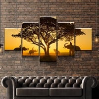 Elephant Sunset Canvas Set