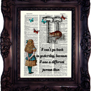 ALICE in Wonderland Decor Alice in Wonderland Print  Vintage Alice Wall Art  Chesire Cat  White Rabbit Alice Quote Print Mad Hatter C:555