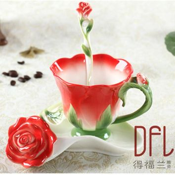 3D Rose Coffee Mug Enamel Tea Cup Set With Spoon Saucer Creative cups and mugs Ceramic European Bone China Drinkware