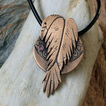 Raven Necklace, Raven Pendant - Supernatural Jewelry, Totem, Shaman, Gothic