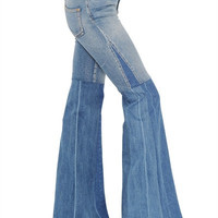 ROBERTO CAVALLI - FLARED TWO TONE STRETCH DENIM JEANS - LUISAVIAROMA