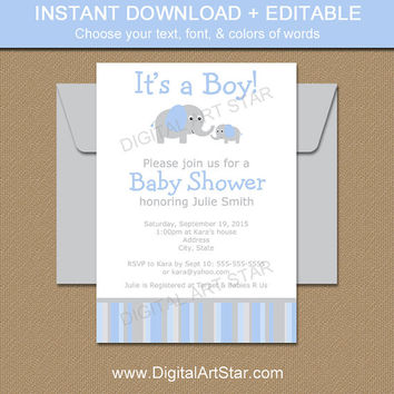 EDITABLE Baby Shower Invitation - Blue and Grey Elephant Baby Shower Invitation - Printable Invitation - Boy Baby Shower Invite - INSTANT