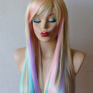 HOLIDAY SALE // Blonde / Pastel color highlights wig. Fairy princess wig. Long straight hair with bangs wig. Heat resistant wig.