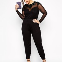 ASOS CURVE Exclusive Jumpsuit With Jet Bead Embellishment at asos.com