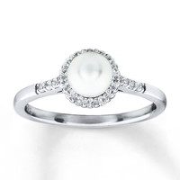 Cultured Pearl Ring Lab-Created Sapphires Sterling Silver