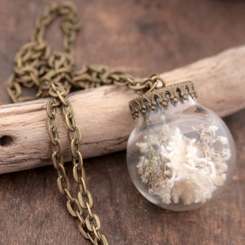 Rustic Glass Globe Pendant Necklace Shabby Style Jewelry Glass Dome Globe Terrarium Statement Necklace Boho Lace in Glass Bubble Pendant