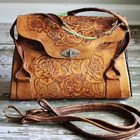 Vintage Leather Tooled Boho Hangbag Bag Purse