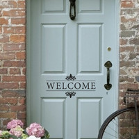 Welcome Vinyl Wall Decal - Front Door/Back Door Vinyl Lettering for the home