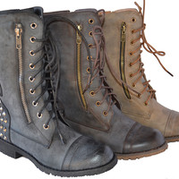New Women Military Combat Studded Boot Lace Up Buckle Women Fashion Boots 5.5~10