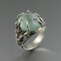 Prehnite Cabochon Sterling Silver Tree Branch Ring ----- Handmade Jewelry by John S Brana