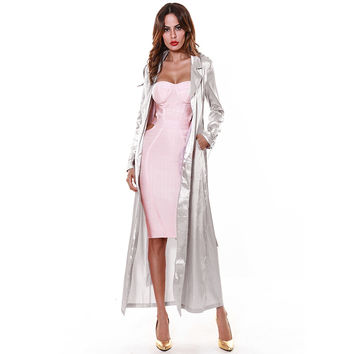Spring Jacket Women Rose Gold Grey Long Duster Coat Long Sleeve Chinese Silk Jacket Women Coat High Quality Black Duster  HL